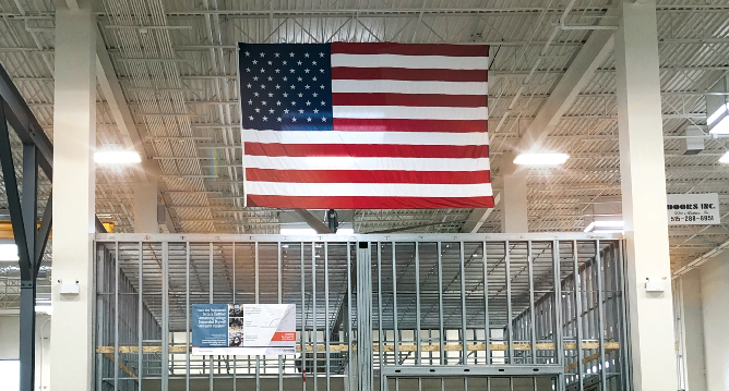 American flag hanging in Carpenters Union